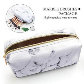 Marble Makeup Bag Lightweight Portable Cosmetic Bags Pouch for Women for Make Up Brushes PU Leather Travel Storage Toiletry Organiser Outdoor for Girl Ladies