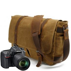 Vintage Waterproof Photography Canvas Bag Leather Camera Travel Bag Backpack Camera Crossbody Bag
